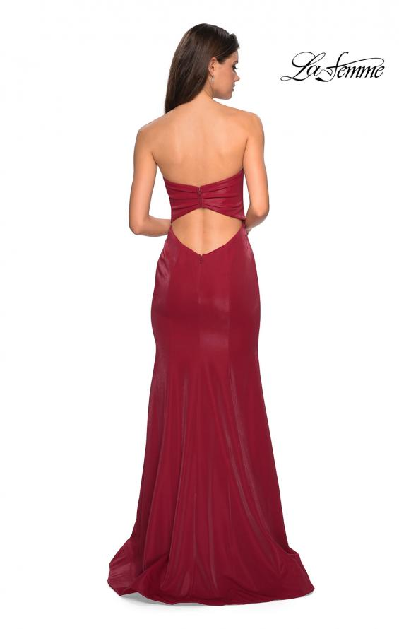 Picture of: Strapless Mermaid Prom Dress with Ruching in Deep Red, Style: 26999, Back Picture