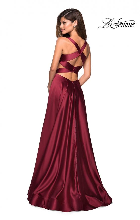 Picture of: Metallic Satin Dress with Wrap Around Top and Pockets, Style: 27487, Back Picture