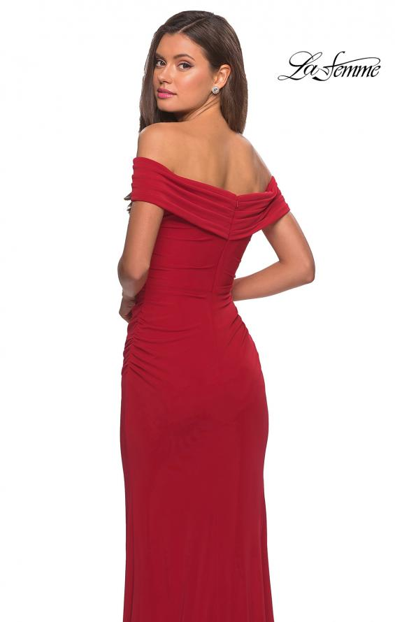 Picture of: Long Off The Shoulder Prom Dress with Deep V-Neck in Deep Red, Style: 28132, Back Picture