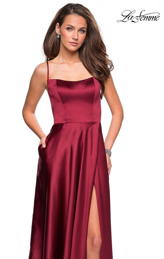 Picture of: Satin Formal Prom Gown with Scoop Neck and Pockets, Style: 26977, Detail Picture 1