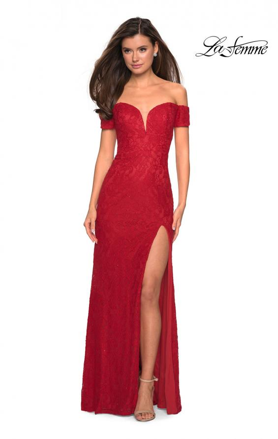 Picture of: Off The Shoulder Long Stretch Lace Prom Dress in Deep Red, Style: 26998, Detail Picture 1