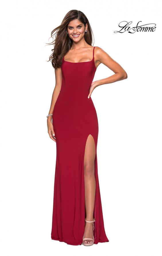 Picture of: Simple Floor Length Jersey Dress with Scoop Neck in Deep Red, Style: 27469, Detail Picture 1