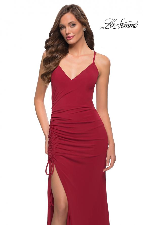 Picture of: Simple Jersey Dress with Ruched Lace Up Side Detail in Deep Red, Style 29444, Detail Picture 1