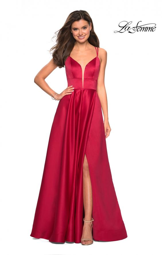 Picture of: Long Satin Formal Gown with Leg Slit and Strappy Back in Deep Red, Style: 26994, Detail Picture 2