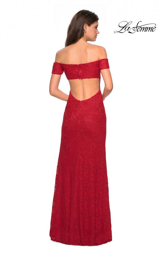Picture of: Off The Shoulder Long Stretch Lace Prom Dress in Deep Red, Style: 26998, Detail Picture 2