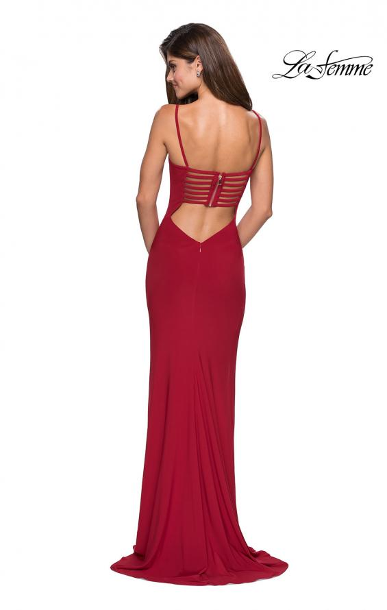 Picture of: Simple Floor Length Jersey Dress with Scoop Neck in Deep Red, Style: 27469, Detail Picture 2