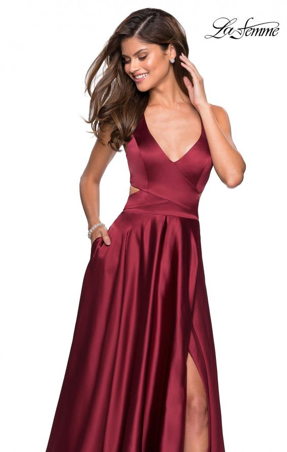Picture of: Metallic Satin Dress with Wrap Around Top and Pockets, Style: 27487, Detail Picture 2