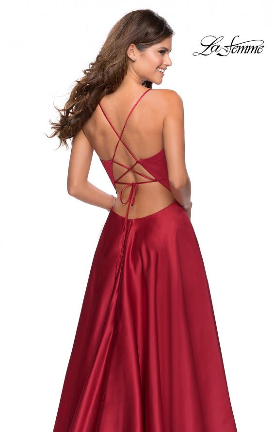 Picture of: V-Neck Satin Prom Dress with Lace Up Back in Deep Red, Style: 28628, Detail Picture 2