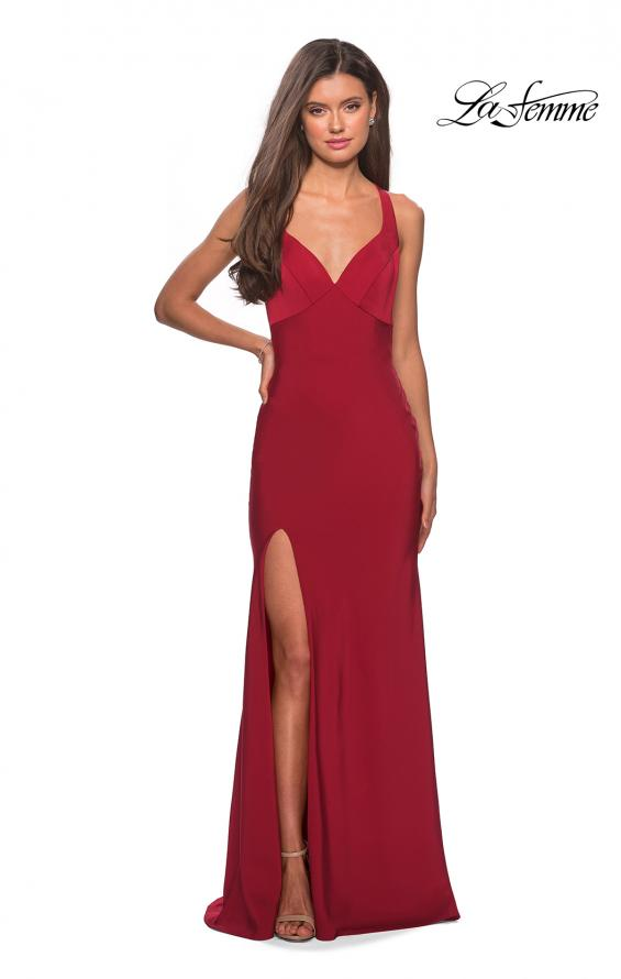 Picture of: Classic Form Fitting Jersey Floor Length Prom Dress in Deep Red, Style: 27581, Detail Picture 3