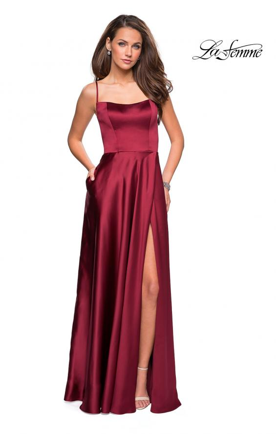 Picture of: Satin Formal Prom Gown with Scoop Neck and Pockets, Style: 26977, Detail Picture 4