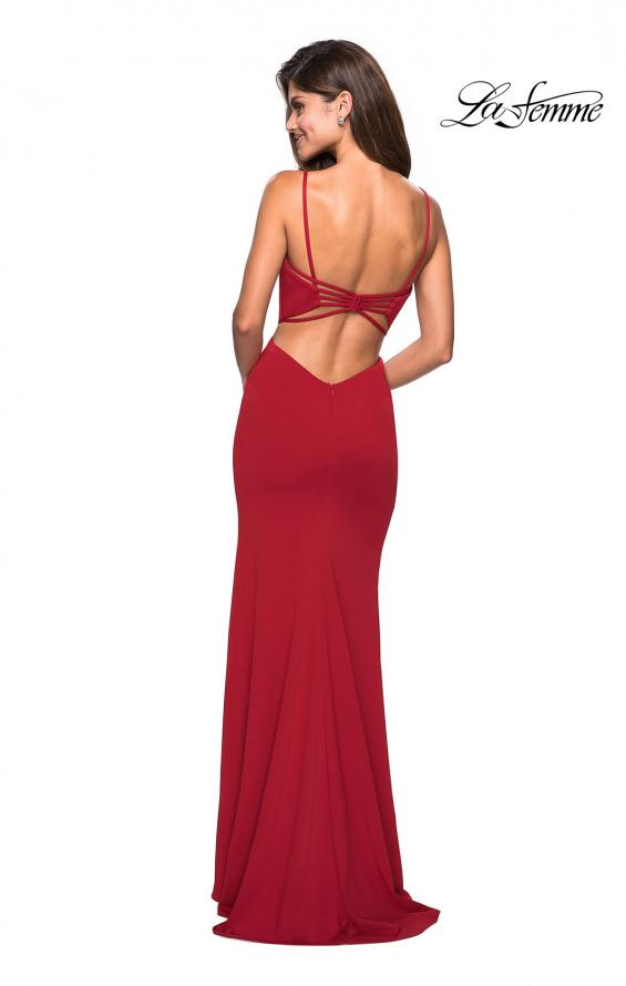 Picture of: Form Fitting Long Dress with Cut Outs and Strappy Back in Deep Red, Style: 27516, Detail Picture 4