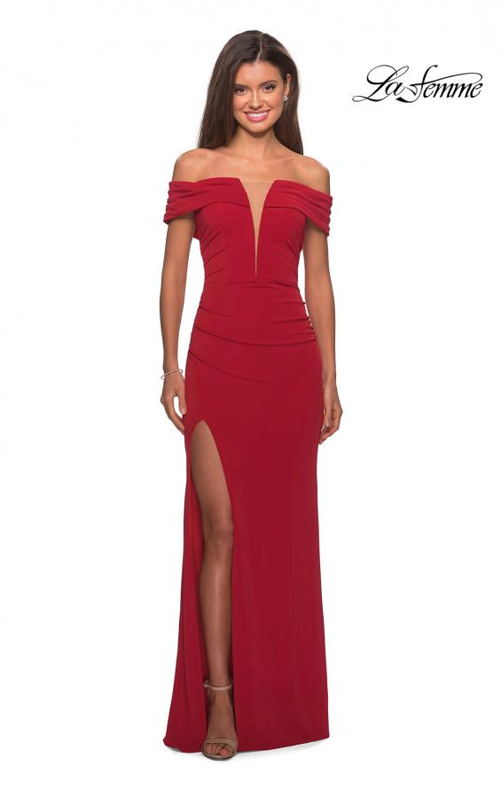 Picture of: Long Off The Shoulder Prom Dress with Deep V-Neck in Deep Red, Style: 28132, Detail Picture 4