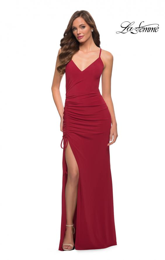 Picture of: Simple Jersey Dress with Ruched Lace Up Side Detail in Deep Red, Style 29444, Detail Picture 4