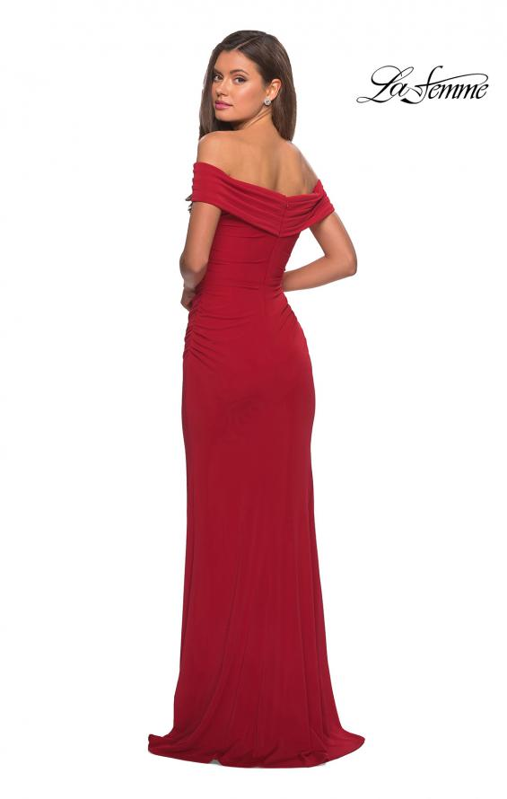 Picture of: Long Off The Shoulder Prom Dress with Deep V-Neck in Deep Red, Style: 28132, Detail Picture 5