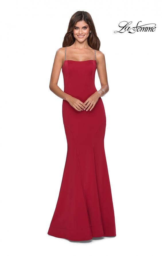 Picture of: Long Jersey Prom Dress with Beaded Strappy Back in Deep Red, Style: 28526, Detail Picture 6