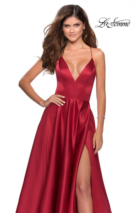 Picture of: V-Neck Satin Prom Dress with Lace Up Back in Deep Red, Style: 28628, Detail Picture 6