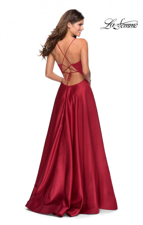 Picture of: V-Neck Satin Prom Dress with Lace Up Back in Deep Red, Style: 28628, Detail Picture 7