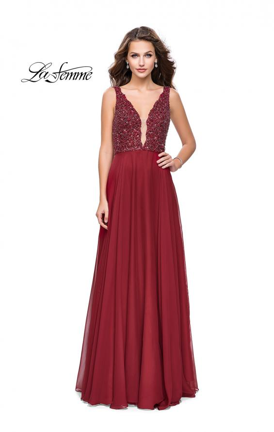 Picture of: A-Line Prom Gown with Chiffon Skirt and Beaded Bodice in Deep Red, Style: 26053, Detail Picture 1
