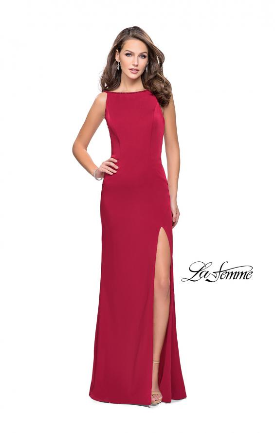 Picture of: Long Classic Form Fitting Prom Dress with Leg Slit, Style: 26274, Detail Picture 2