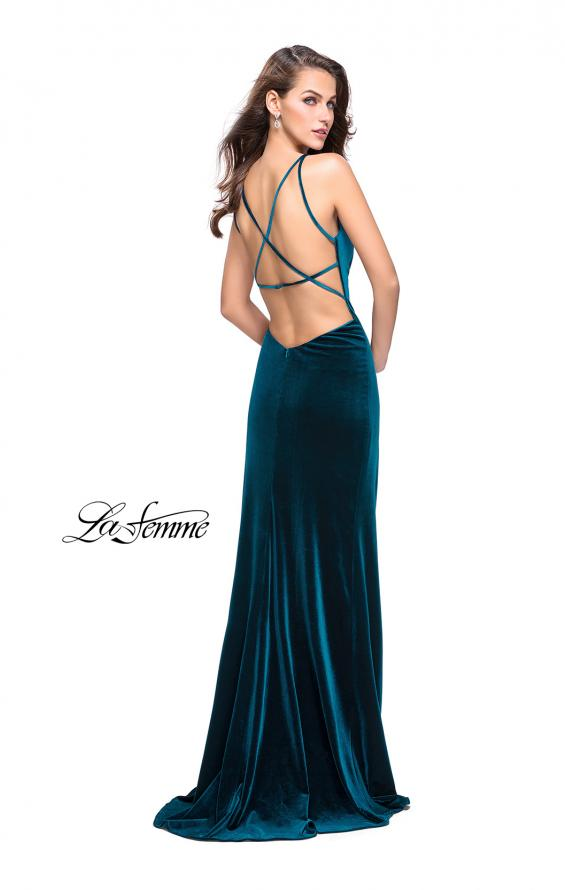 Picture of: Velvet Prom Dress with Strappy Back and Small Train, Style: 25184, Back Picture