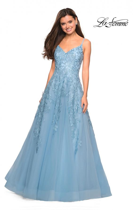 Picture of: Floral Embellished A-Line Tulle Prom Dress in Dusty Blue, Style: 27819, Main Picture
