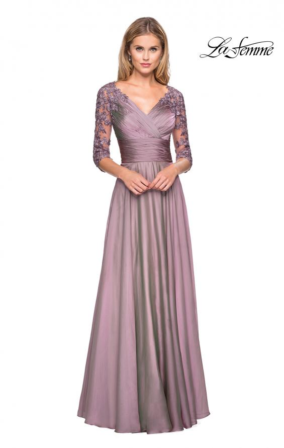 Picture of: Floor Length Chiffon Dress with Lace Sleeves, Style: 27153, Main Picture