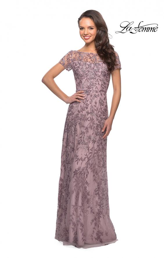 Picture of: Floral Beaded Evening Dress with Sheer Cap Sleeves in Dusty Lilac, Style: 27956, Main Picture