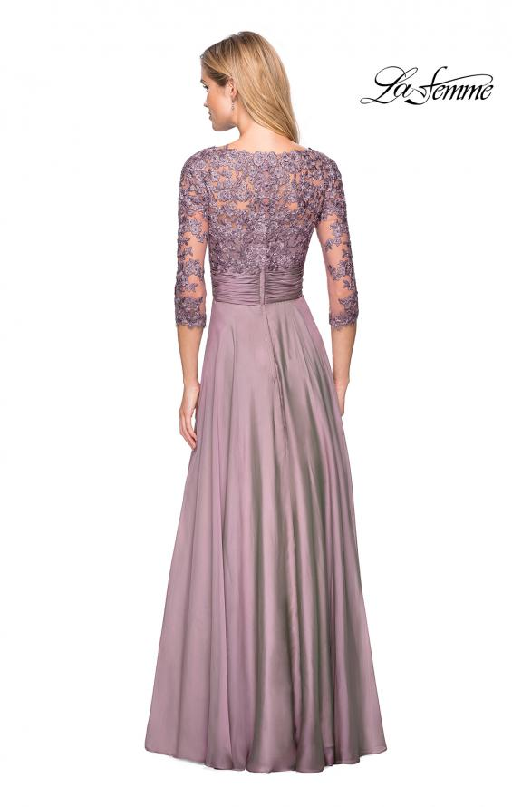 Picture of: Floor Length Chiffon Dress with Lace Sleeves, Style: 27153, Back Picture