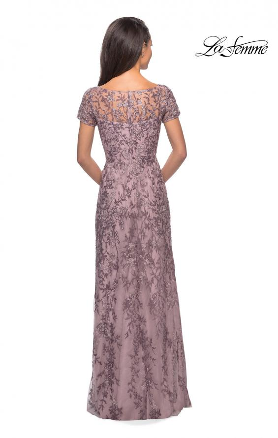 Picture of: Floral Beaded Evening Dress with Sheer Cap Sleeves in Dusty Lilac, Style: 27956, Back Picture