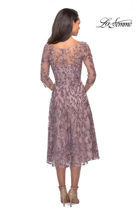 Picture of: Tea Length Embroidered Dress with Sheer Sleeves in Dusty Lilac, Style: 27971, Back Picture
