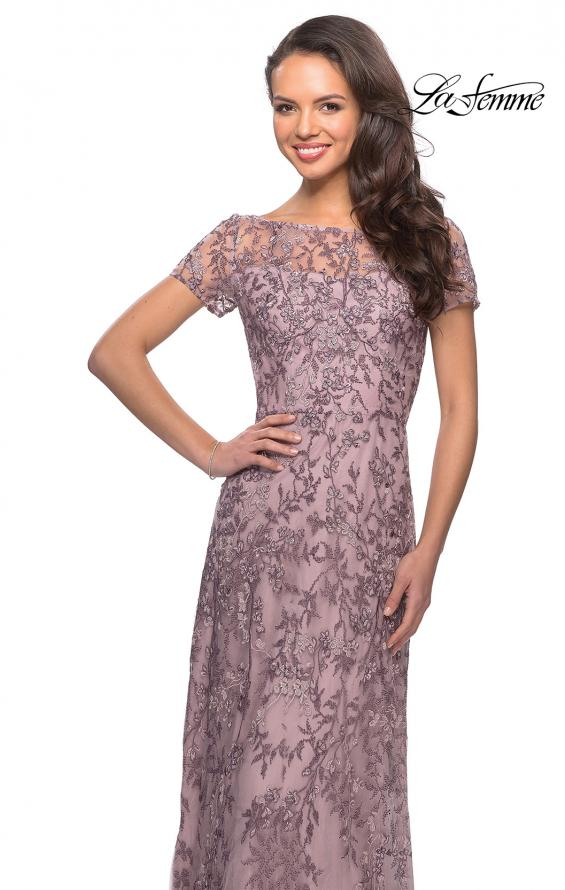 Picture of: Floral Beaded Evening Dress with Sheer Cap Sleeves in Dusty Lilac, Style: 27956, Detail Picture 1