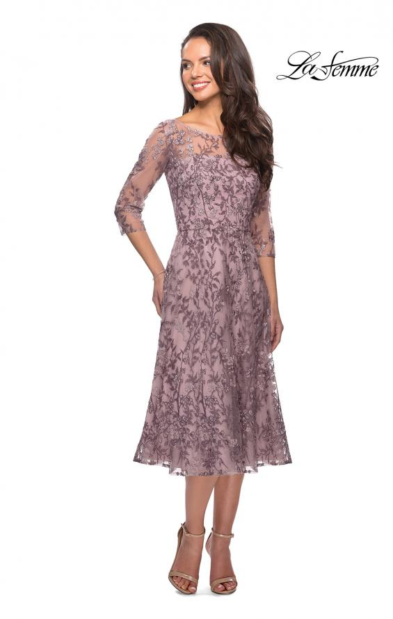 Picture of: Tea Length Embroidered Dress with Sheer Sleeves in Dusty Lilac, Style: 27971, Detail Picture 1