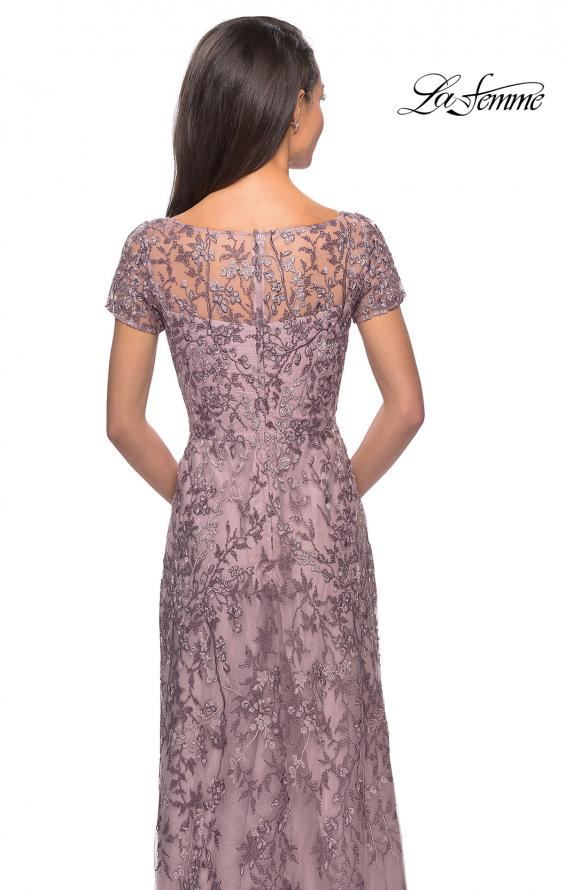 Picture of: Floral Beaded Evening Dress with Sheer Cap Sleeves in Cocoa, Style: 27956, Detail Picture 2