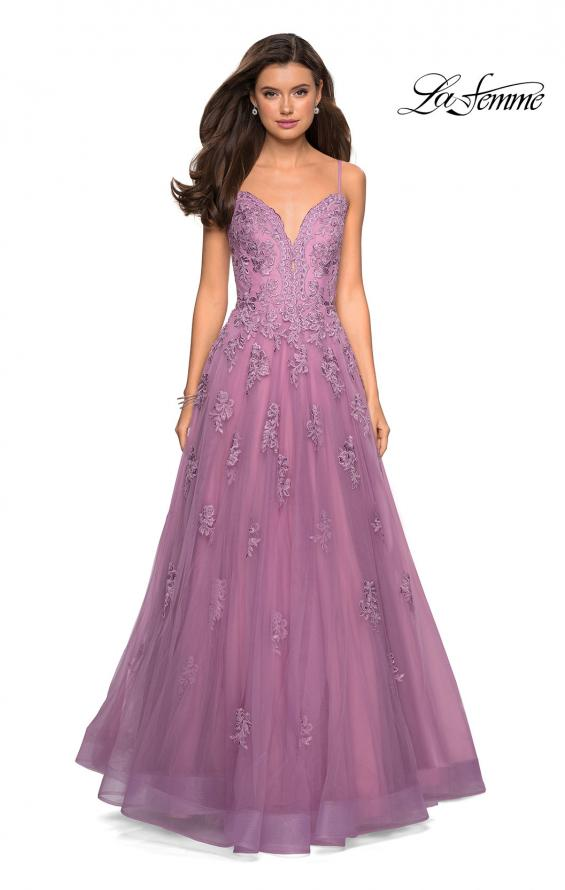 Picture of: Classic Prom Ball Gown with Lace Applique Details, Style: 27463, Detail Picture 5