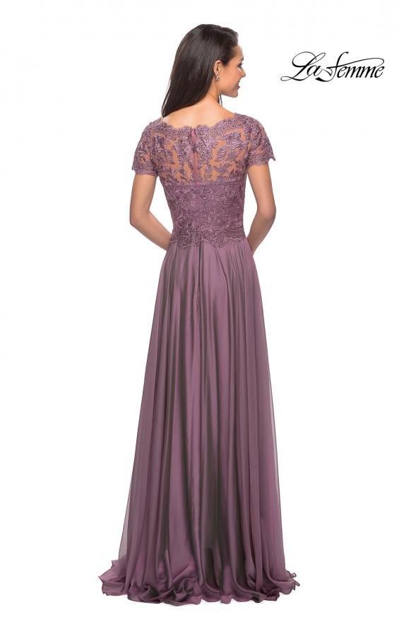 Picture of: Long Chiffon Dress with Lace Bodice and Pockets in Dusty Mauve, Style: 27098, Back Picture