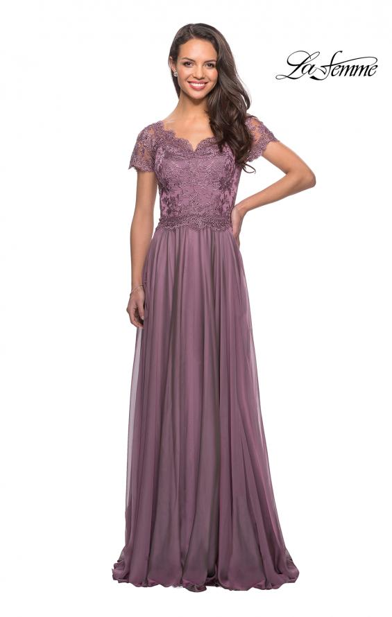 Picture of: Long Chiffon Dress with Lace Bodice and Pockets in Dusty Mauve, Style: 27098, Detail Picture 5