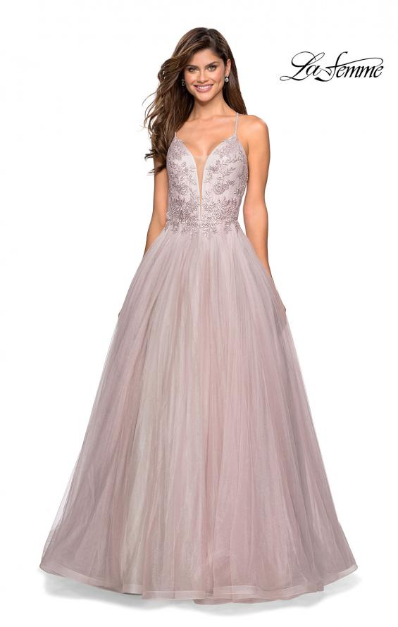 Picture of: Tulle Ball Gown with Beaded Bust Detail and Strappy Back, Style: 27475, Main Picture