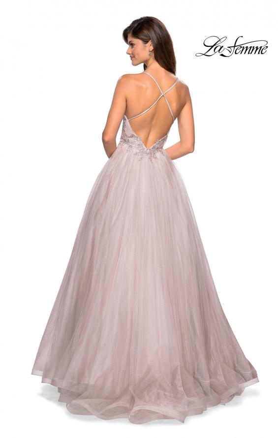 Picture of: Tulle Ball Gown with Beaded Bust Detail and Strappy Back, Style: 27475, Back Picture