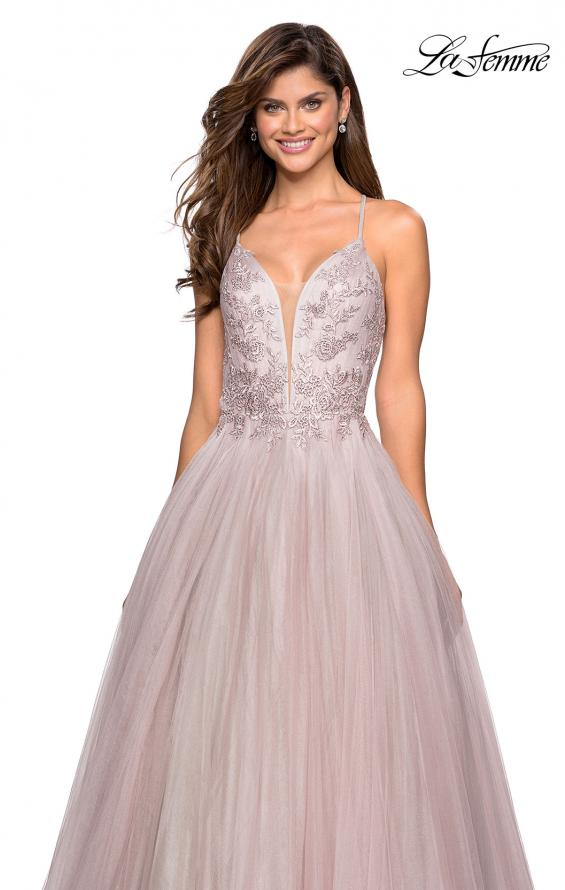 Picture of: Tulle Ball Gown with Beaded Bust Detail and Strappy Back, Style: 27475, Detail Picture 1
