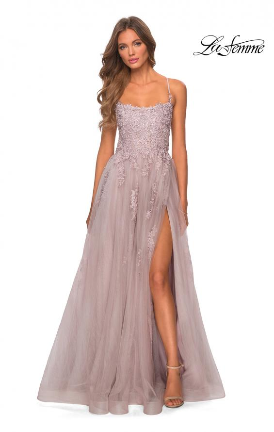 Picture of: A-line Tulle Gown with Floral Embroidery and Pockets in Dusty Mauve, Style: 28470, Detail Picture 6