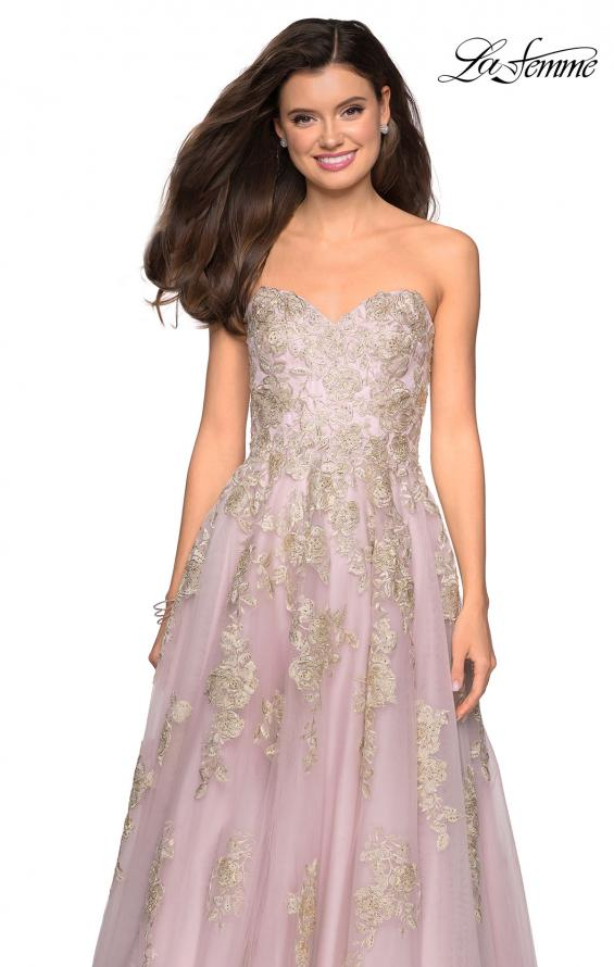 Picture of: Floral Embellished Strapless Prom Gown in Dusty Pink, Style: 27731, Main Picture