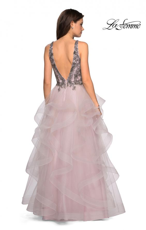 Picture of: Cascading Tulle Prom Dress with Rhinestone Bodice in Dusty Pink, Style: 27649, Back Picture
