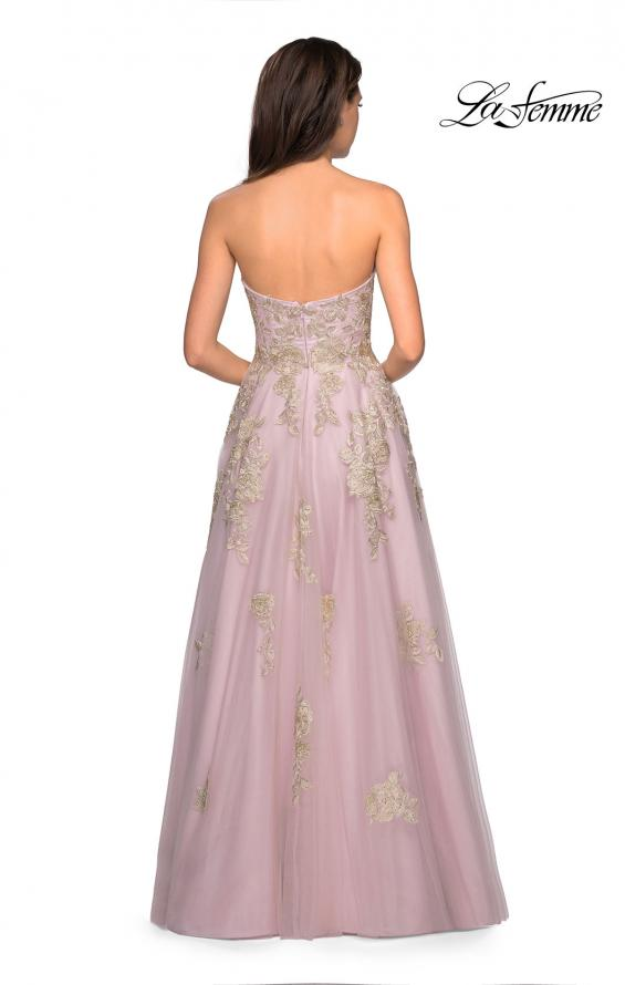 Picture of: Floral Embellished Strapless Prom Gown in Dusty Pink, Style: 27731, Back Picture