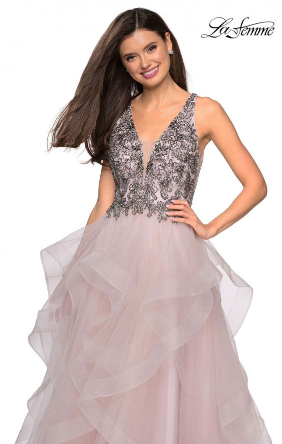 Picture of: Cascading Tulle Prom Dress with Rhinestone Bodice in Dusty Pink, Style: 27649, Detail Picture 1