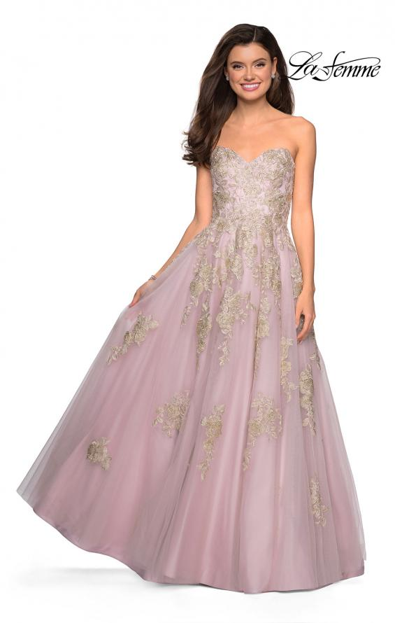 Picture of: Floral Embellished Strapless Prom Gown in Dusty Pink, Style: 27731, Detail Picture 1