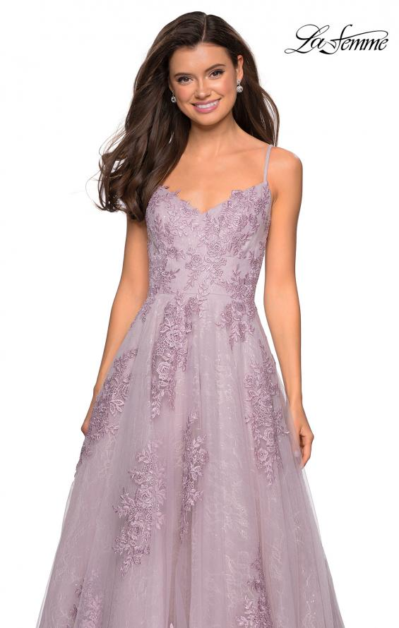 Picture of: Classic Lace A Line Dress with V Neckline and Pockets in Dusty Pink, Style: 27492, Detail Picture 5