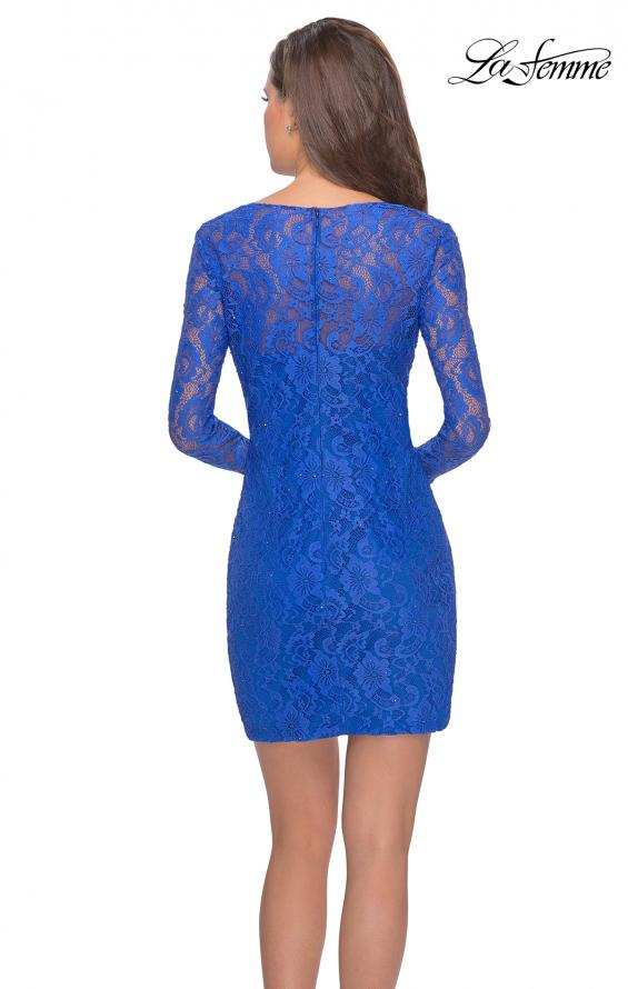 Picture of: Long Sleeve Lace Short Dress with Sheer Back Detail in Electric Blue, Style: 28232, Back Picture