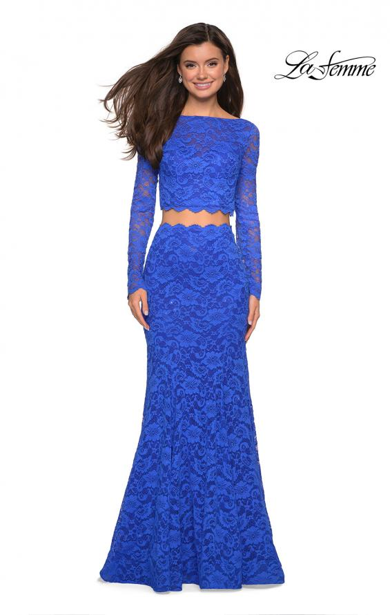 Picture of: Stretch Lace Long Sleeve Two Piece Prom Dress, Style: 27601, Detail Picture 12