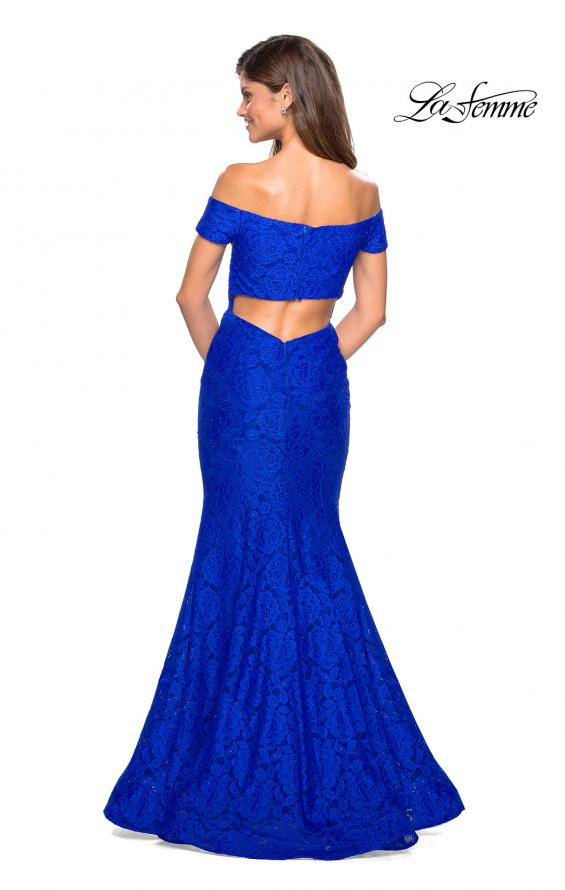 Picture of: Stretch Lace Off the Shoulder Mermaid Prom Dress, Style: 27613, Back Picture