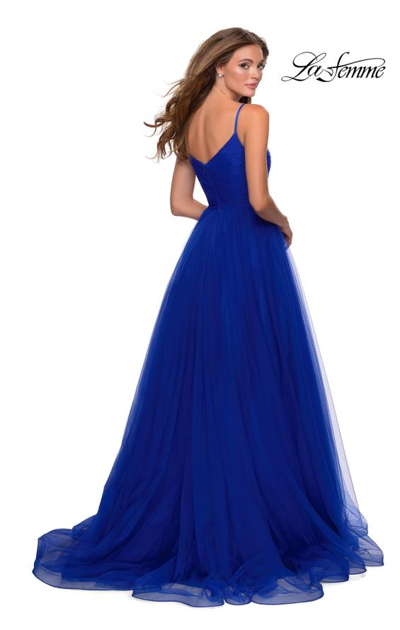Picture of: Long Tulle Pleated Bodice Prom Gown with Pockets in Electric Blue, Style: 28123, Back Picture